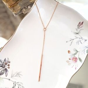 Jewelry - Rose gold coated drop pendant chain necklace